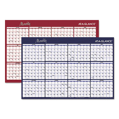 (At-A-Glance Reversible Horizontal Erasable Wall Planner 48 x 32 2019 A152)