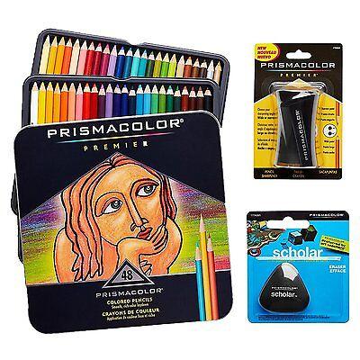 Prismacolor Premier Colored Pencils 48 count +  Prismacolor Sharpener & Eraser