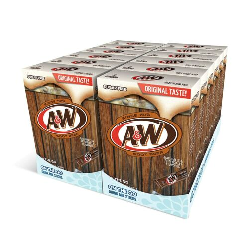 72 Packets A&W Root Beer Powder Drink Mix (12 Boxes with 6 Per Box) New