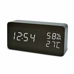 Alarm Wood Clock with LED Digital Display, Voice Control (Come With Little Gift)
