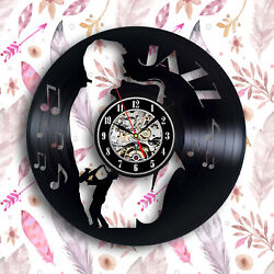 Jazz music vinyl wall clock 12 inches gift  jazz lover, jazz band saxophone art