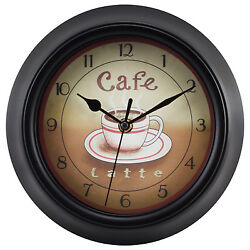 404-2623 La Crosse Clock Company 9 Coffee Theme Analog Wall Clock