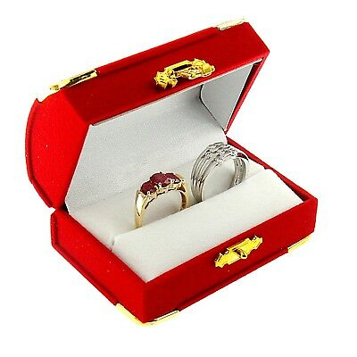 Red Velvet Double Ring Box Display Jewelry Gift Box Treasure Chest Velour Style (Treasure Chest Gift Box)