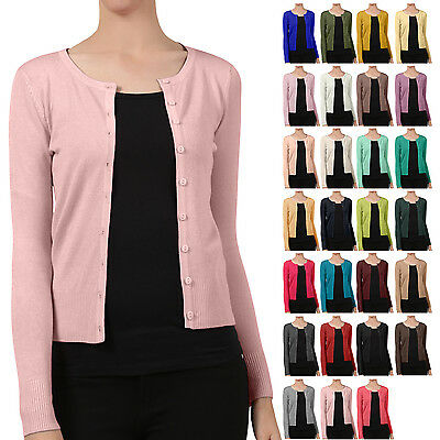 NE PEOPLE Womens Basic Crewneck Button Down Long Sleeve Cardigan Sweater NEWJ92