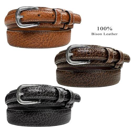 """Western Ranger Belt Genuine Leather American Bison Ranger Belt 1-3/8""""(35mm) Wide"""