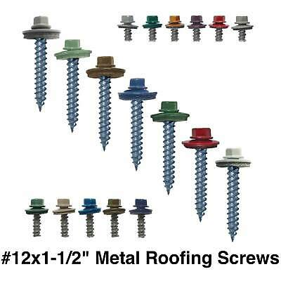 12 X 1-12 Hex Regrip Sheet Metal Roof Screws. Sharp Point Metal To Wood Screw
