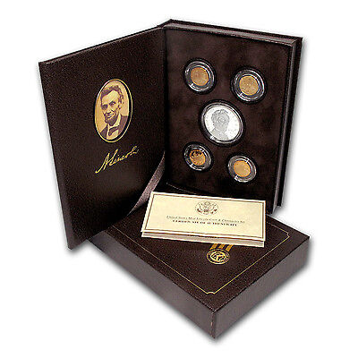Click now to see the BUY IT NOW Price! 2009 P 5 PC LINCOLN CHRONICLES $1 SILVER COMMEM PF SET BOX/COA   SKU 67210