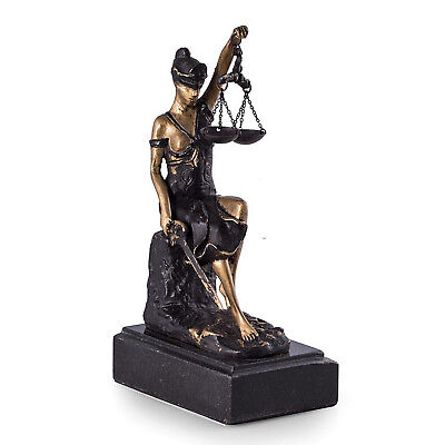LAWYERS & LEGAL - BRONZE SEATED LADY JUSTICE SCULPTURE - MARBLE BASE