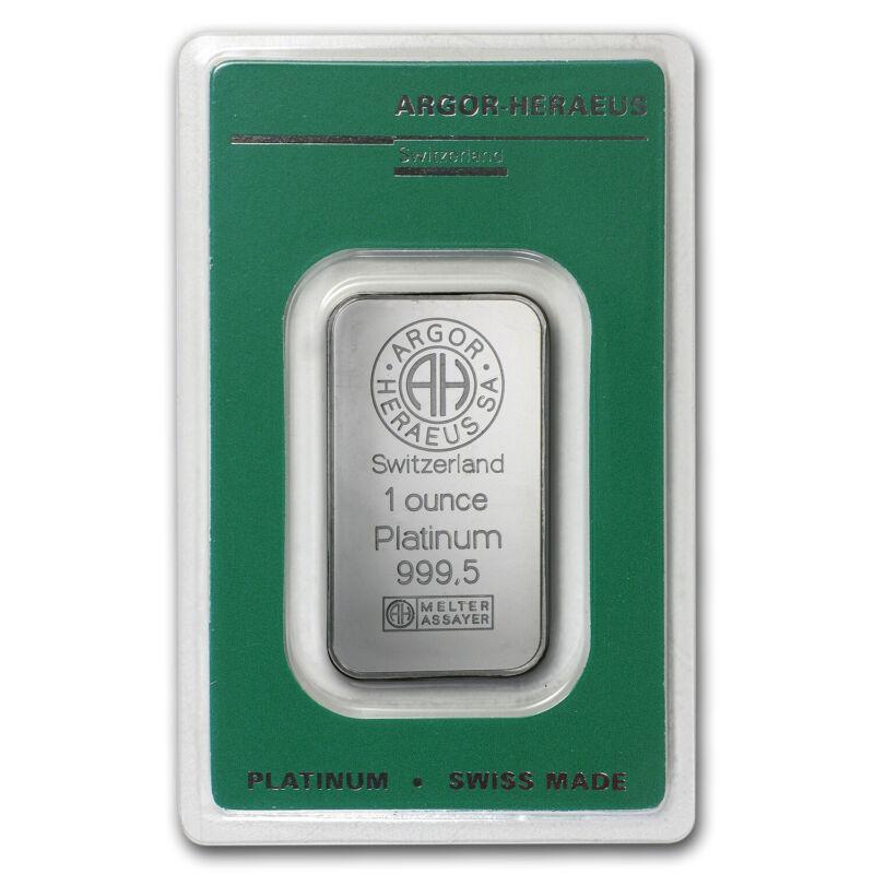 1 oz Platinum Bar - Argor-Heraeus (In Assay)