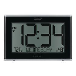 513-05867 La Crosse Technology Jumbo Atomic Digital Wall Clock IN Temp/Humidity