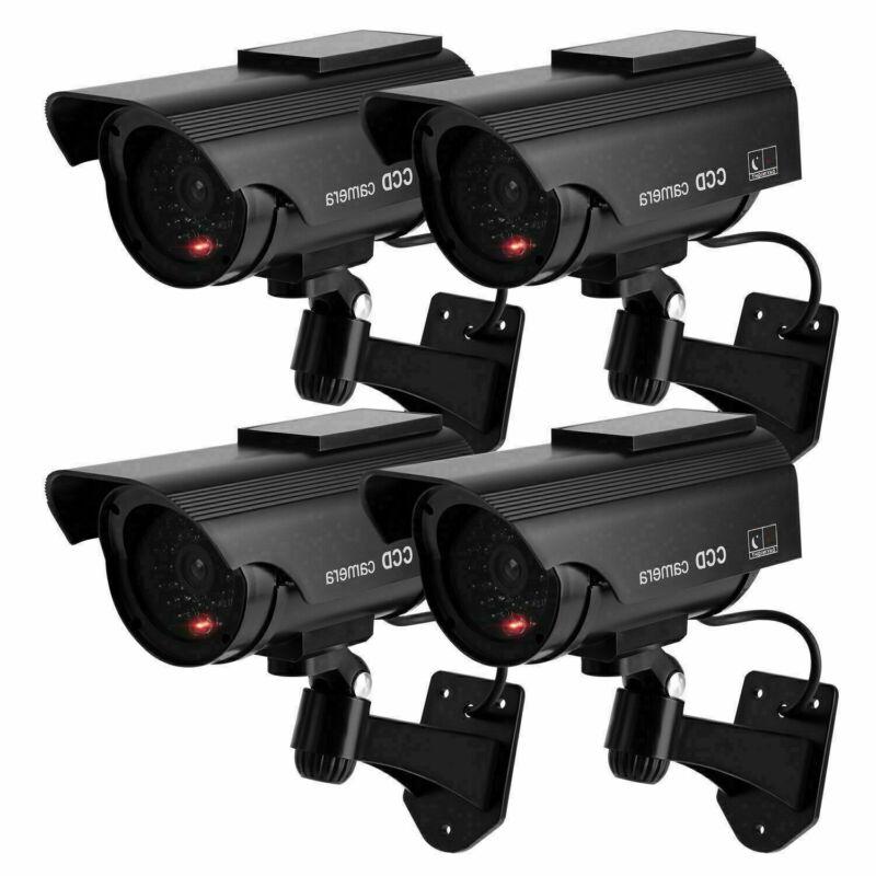 4x Dummy Fake Dome CCTV Solar Power Security Camera Flashing LED Home System