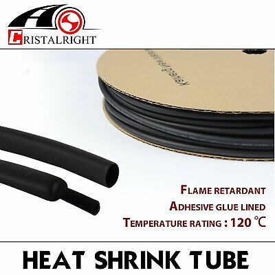 10ft 38 Heat Shrink Tubing Adhesive Glue Lined Marine Tuner Ultra Thin Black