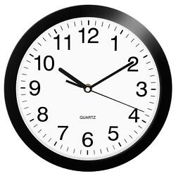 HeQiao 10 Inch Round Quartz Wall Clock Silent Non-Ticking Battery Operated