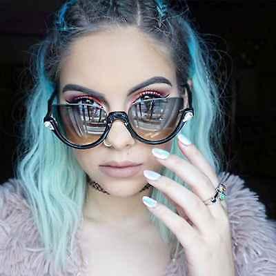Designer Cat Eye Rhinestone Half Frame Sunglasses Gradient Lens Women Fashion (Rhinestone Cat Eye Sunglasses)