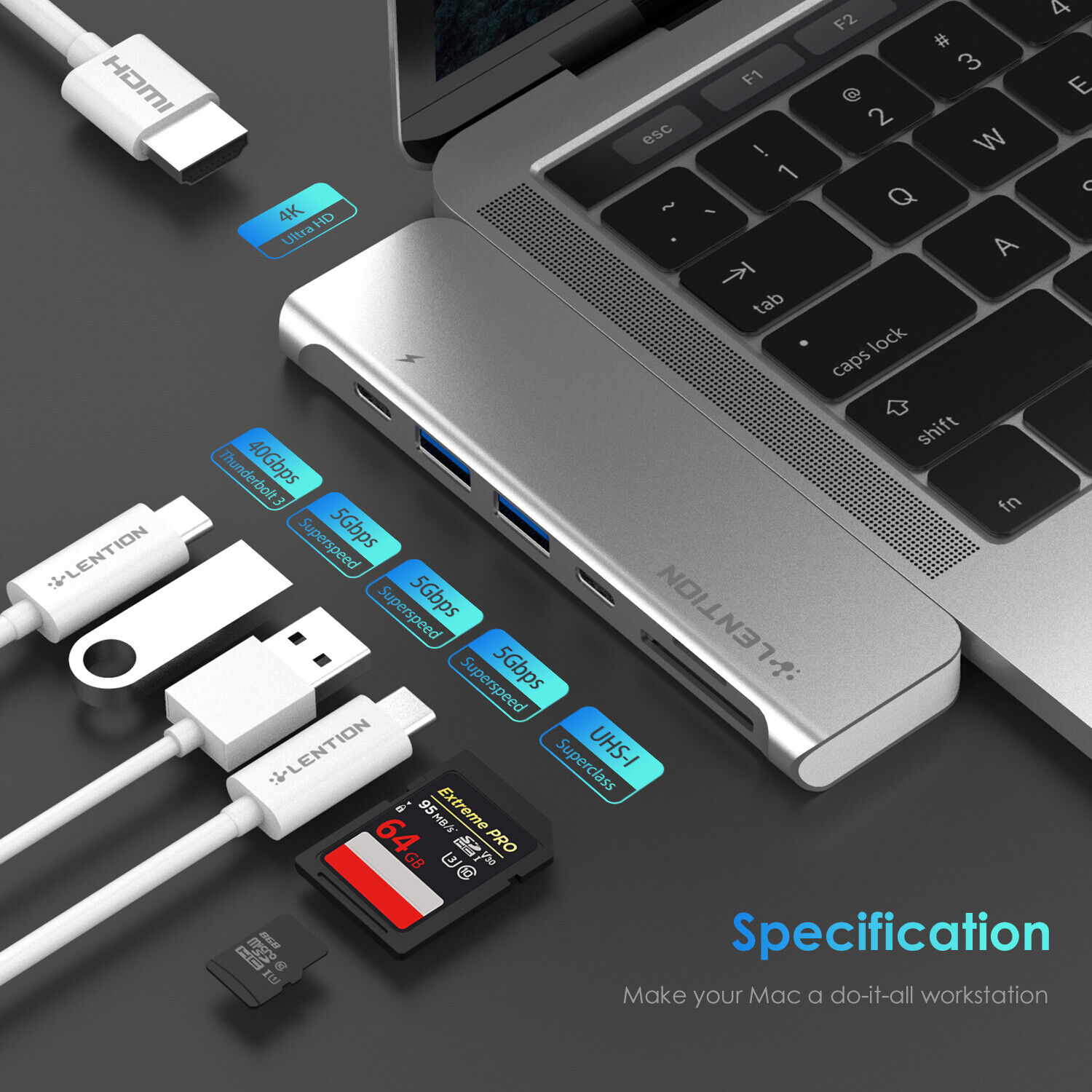 LENTION Thunderbolt 3 USB-C HUB to HDMI USB 3.0 SD Reader Adapter MacBook Pro 16