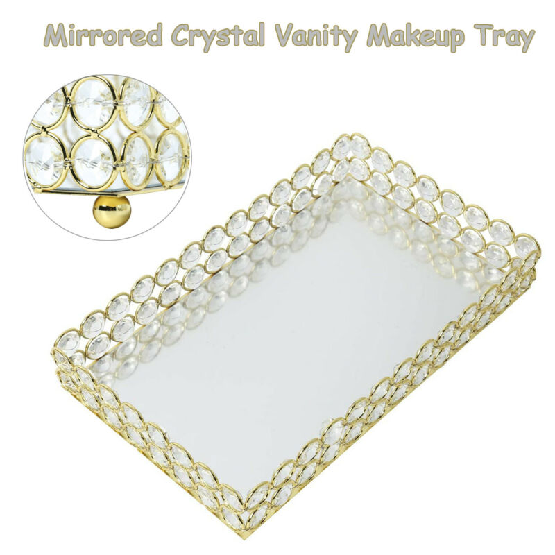 Gold Mirrored Crystal Vanity Trinket Decorative Trays for Perfume Jewelry Makeup