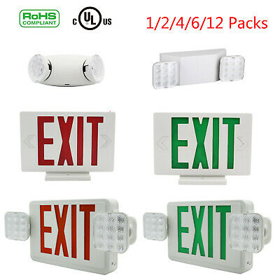 Universal Led Exit Sign Emergency Lightredgreendual Head Compact Combo Ul