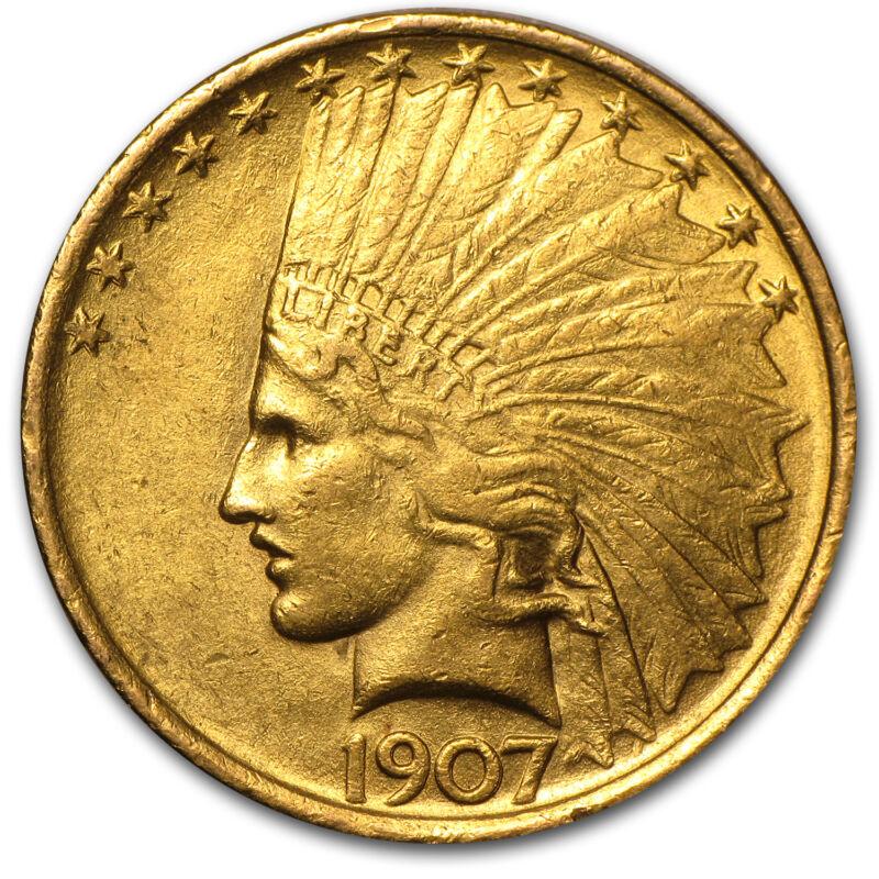 1907 $10 Indian Gold Eagle Au - Sku #14693