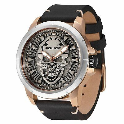 USED Police REAPER Man's Quartz Watch with Black Leather Strap 14385JSRS/57