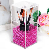 Lifewit Clear Acrylic Brushes Holder Box Makeup Dust Organizer With Rosy Pearl