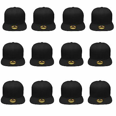 Plain Blank Flat Brim Adjustable Snapback Baseball Caps WHOLESALE LOT 12pcs  - Whole Sale Hats