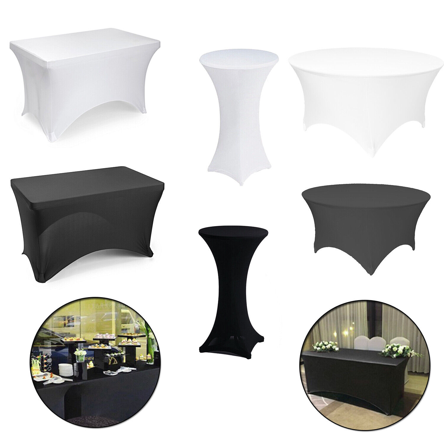 Black White Lycra Spandex Fitted Stretch Tablecloth Cover We