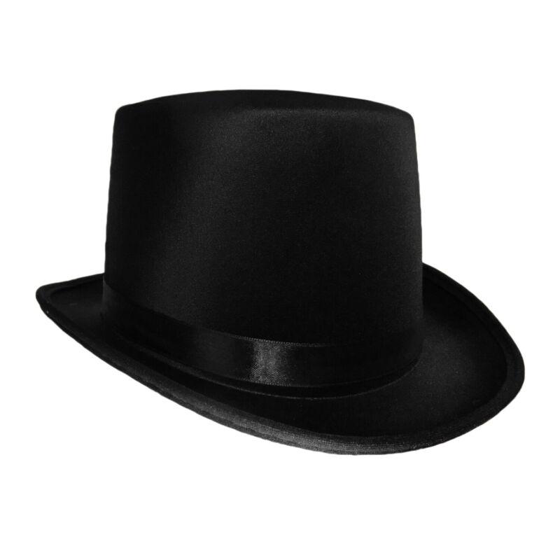 Black Satin Top Hat Magician Gentleman Adult 20