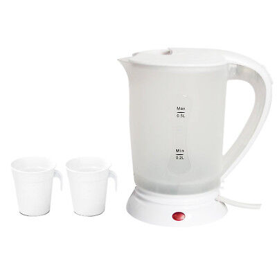 Electric Travel Kettle & Cups: 0.5L (Carry Holiday Camping Tea Coffee Maker)