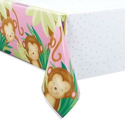 Girl Monkey Baby Shower Plastic Tablecloth, 84