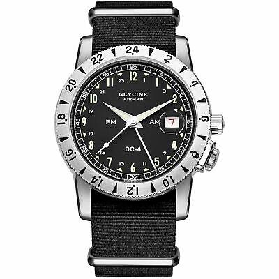 Glycine 3904.19.12h.TB9 Men's Airman DC-4 GMT Black Automatic Watch