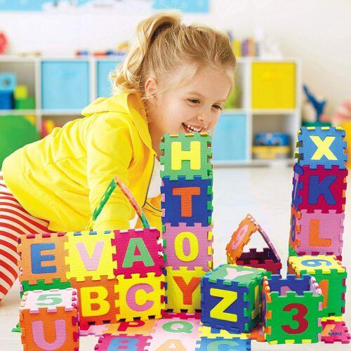 "DIMPLE Kids Foam Play Mat (36-Piece Set) 5"" x 5"" Interlocking Alphabet & Numbers"