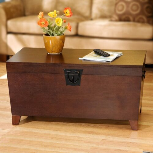 Hope Chest Storage Trunk Wood Wooden Coffee Table Large Box For Quilts Blanket