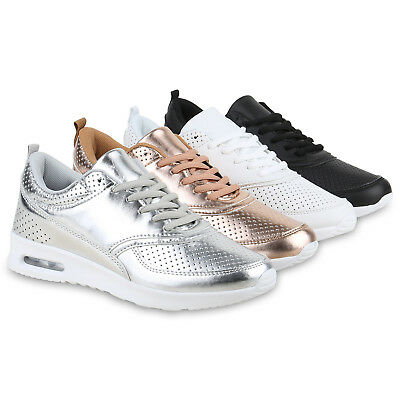 Damen Sneakers Metallic Sportschuhe Runners Laufschuhe 815763 Schuhe