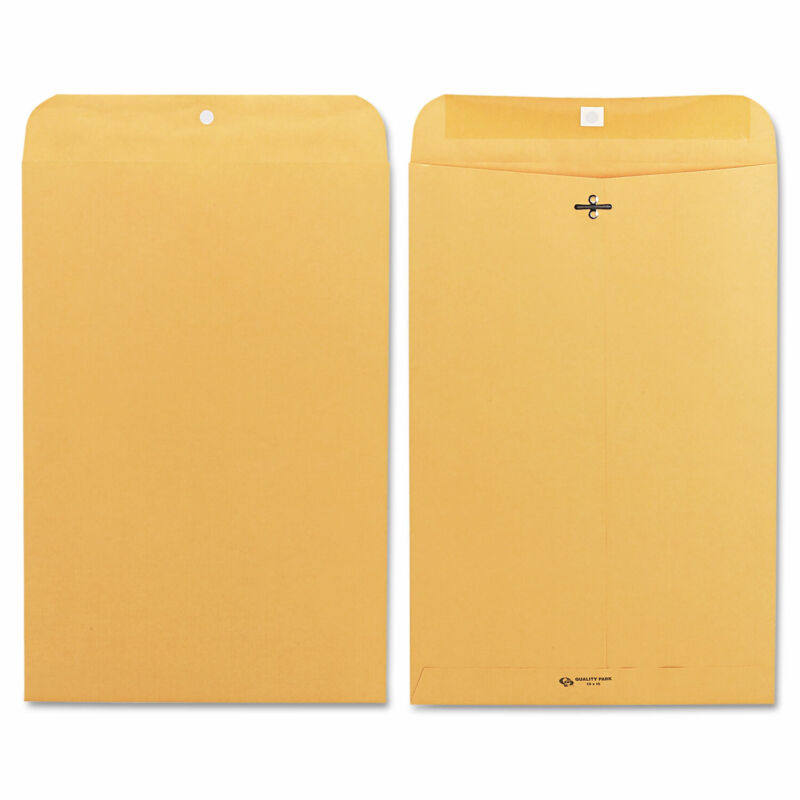 Quality Park Clasp Envelope 10 x 15 28lb Brown Kraft 100/Box 37898