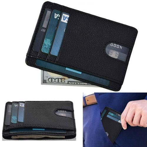New Genuine Leather Slim Card Holder Wallets For Men Minimalist RFID Blocking