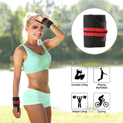 New Weight Lifting Training Wraps Wrist Support Gym Fitness Bandage Black/Red