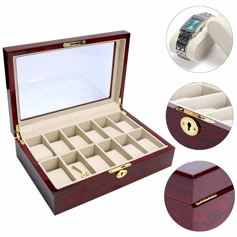 12 Slots Wooden Watch Box Top Jewelry Case Organizer Display Clear &Secure lock