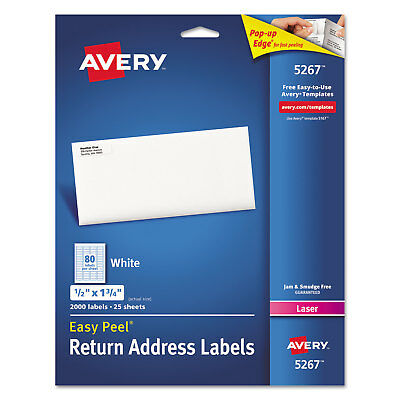 Avery Easy Peel Return Address Labels Laser 12 X 1 34 White 2000pack 5267