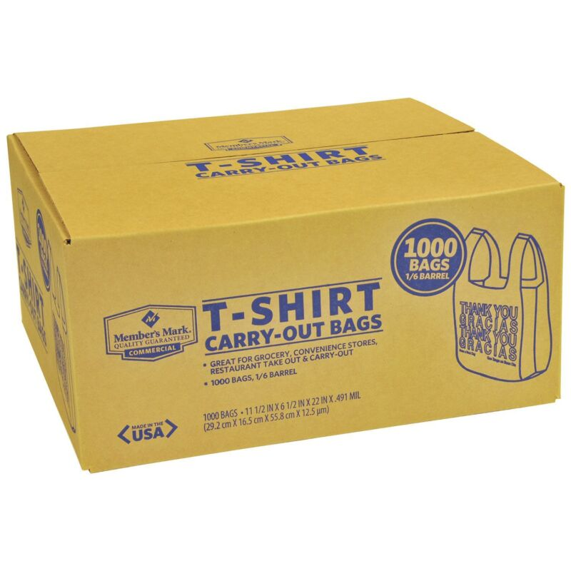 New 1000 T-Shirt Carry Out Retail Plastic Bags Recyclable Grocery Shopping - NEW