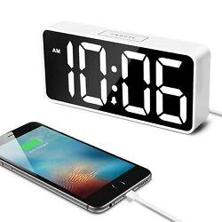 Welgo LED Digital Alarm Clock with USB Charging Port, 0-100% Dimmer, Large Nu...