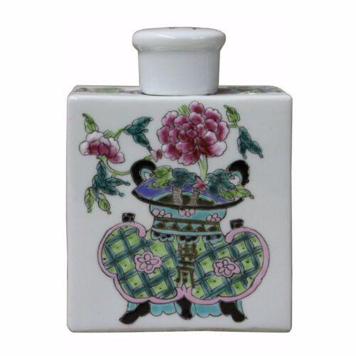 Handmade Colorful Painting Flower In Vase Rectangular Porcelain Tea Jar n227