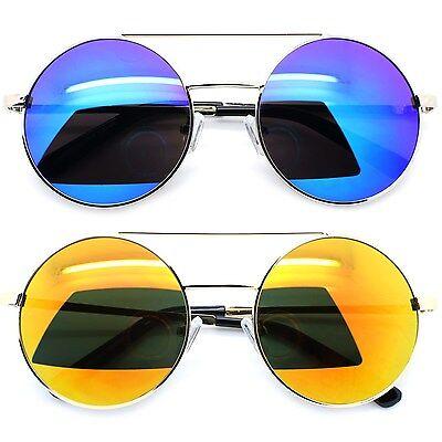 Mirror Reflective Lens Round Men Women Sunglasses Metal Fram