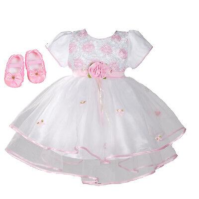 Baby Taufe Party Kleid und Schuhe Rosa Lila Weiß 0 3 6 9 12 18 Monate