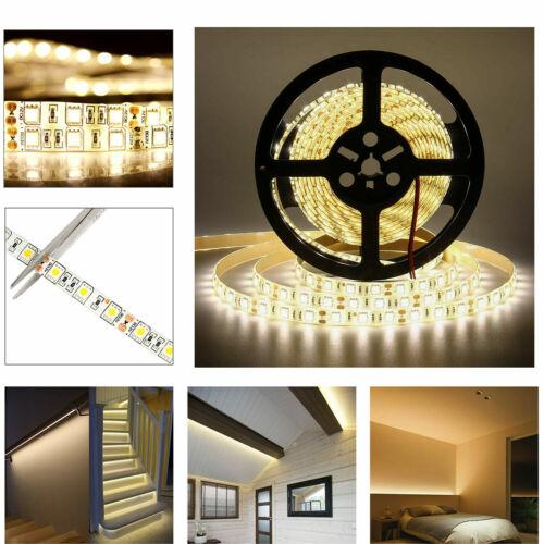 5m 10m 20m 12V 24V SMD 5050 LED Stripe Streifen Band Leiste Licht Kaltweiss IP20