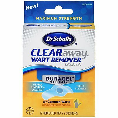 Dr Scholls CLEAR AWAY Wart Remover DURAGEL 12 Medicated Disc