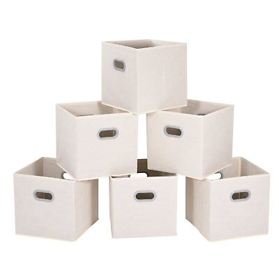 Cloth Storage Bins Cubes Baskets Containers, Beige, Set of -