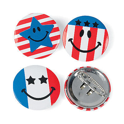 48 Patriotic Buttons 4th of July MEMORIAL DAY Smiley Face Birthday Party Favor
