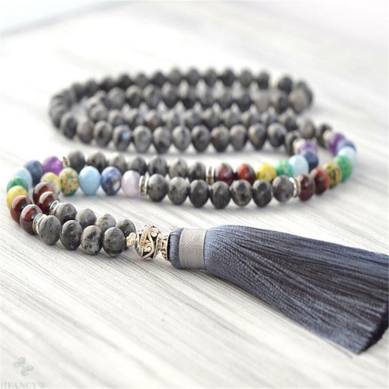 8mm Labradorite 7 Chakra Gemstone 108 Beads Mala Necklace Spiritua Classic Yoga