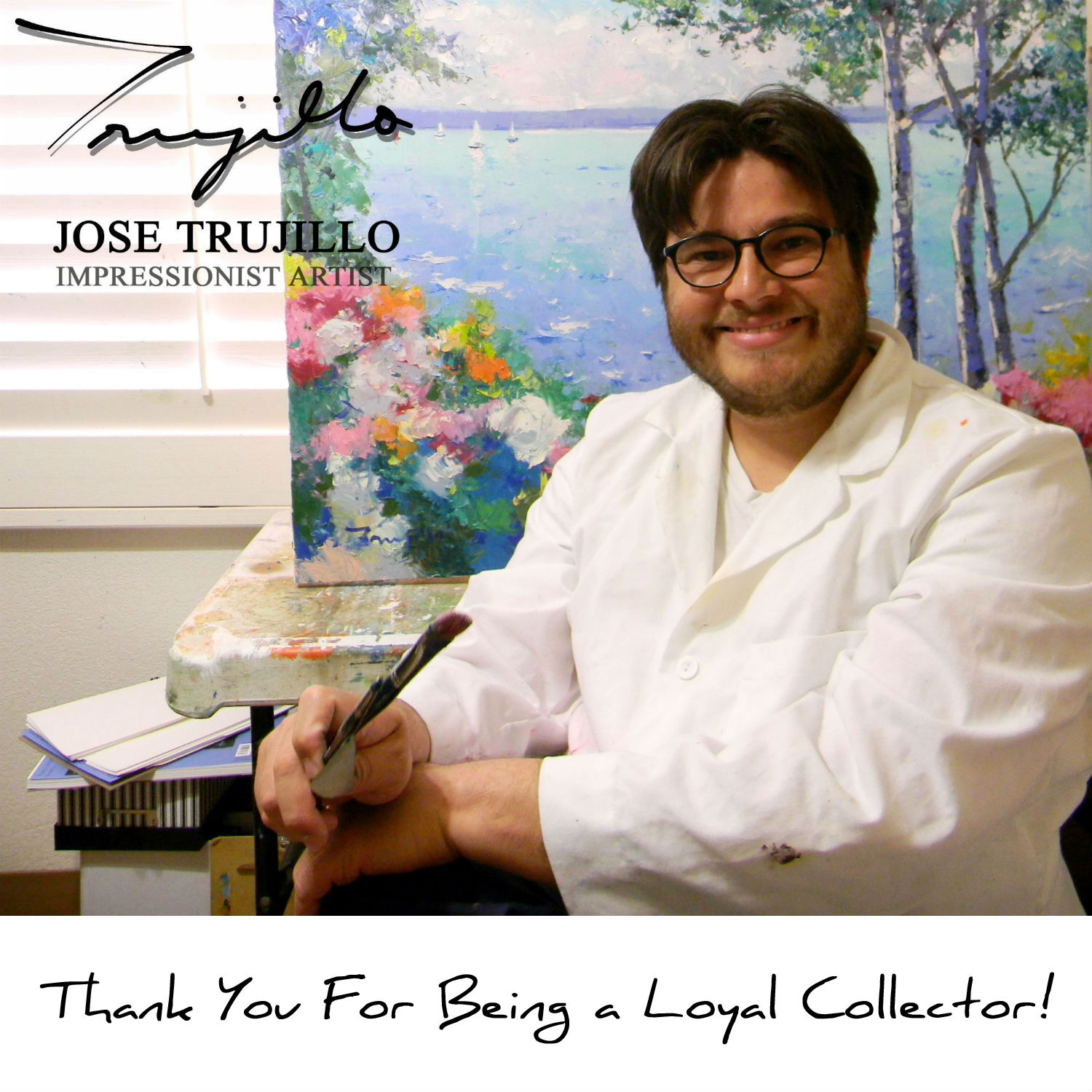 JOSE TRUJILLO Oil Painting Abstract Portrait Hat Contemporary Expressionist ART - $179.00