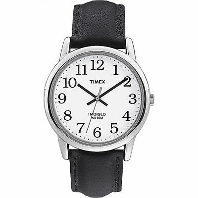 Timex T20501, Men's Easy Reader Black Leather Watch, Indiglo
